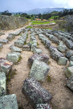 Old stones at Ingapirca ruins. Old stones at the ancient Inca ruins of Ingapirca, on an overcast day, Ecuador Royalty Free Stock Photo