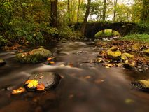 The old stony bridge above stream. Water of brook full of colorful leaves, leaves on gravel, blue blurred water is running. stock photos