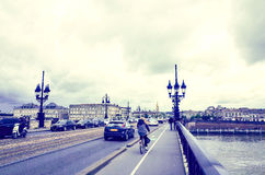 Old stony bridge in Bordeaux Stock Photo