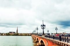 Old stony bridge in Bordeaux Stock Photography
