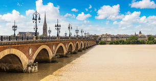 Old stony bridge in Bordeaux Royalty Free Stock Photo
