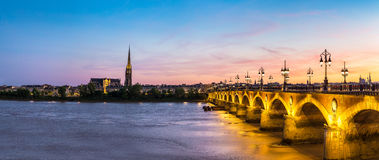 Old stony bridge in Bordeaux Royalty Free Stock Images
