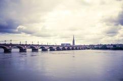 Old stony bridge in Bordeaux Royalty Free Stock Photos