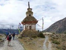 Old Stony Stupa. Annapurna Circuit trek in Nepal, Marsyangdi river valley, near Ngawal village stock photography