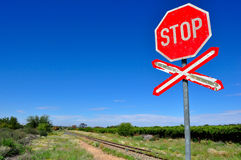 Old stop railway crossing sign Royalty Free Stock Photography