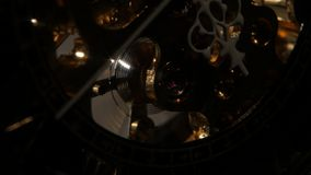 Old stopwatch clock gears mechanism. Close up stock video footage