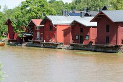 Old storage houses, Porvoo, Finland Royalty Free Stock Images