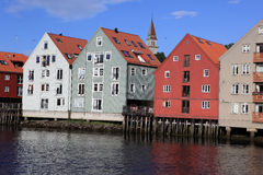 Old Storehouses in Trondheim, Norway Royalty Free Stock Photography