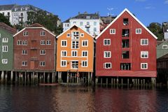Old Storehouses in Trondheim, Norway Stock Images