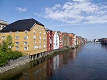 Old Storehouses in Trondheim  in Norway, Royalty Free Stock Photo