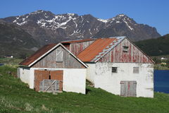 Old Storfjord  farm and hayloft. Abandoned old farm in Storfjord, a small village of Lofoten islands Stock Image