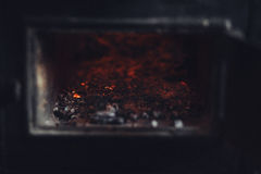 Old stove ashes and embers Royalty Free Stock Photos