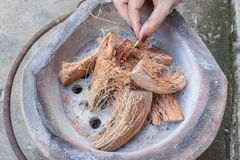 Old stove of thailand. The old stove fire with coconut Royalty Free Stock Photos