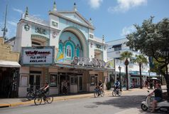 Old Strand Theater building in Key West, Florida. Key West, Florida, USA - October 6, 2016: A Walgreens Pharmacy, in the old Strand Theater building, on Duval stock photos