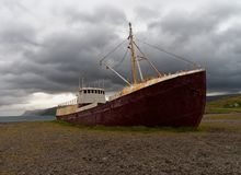 Old Stranded Shipwreck in Iceland stock photo
