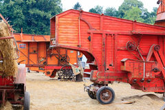 Old straw baler. Agricultural vehicle, rural life royalty free stock images