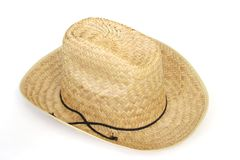 Old straw cowboy or farmer hat. Top view of a straw hat royalty free stock photos