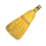 Old straw hand brush. An old straw hand brush on a white background Stock Photography