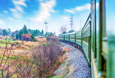 Old stream green train that runs Royalty Free Stock Image