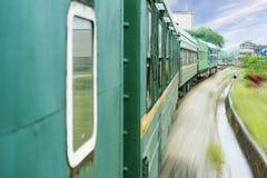Old stream green train that runs Stock Photos