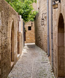 Old street. Cobbled stones on an old street in Rhodes, Greece Royalty Free Stock Image