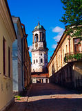 Old Street. Clock Tower of Vyborg (Russia), the city on the border between Russia and Finland Stock Photography