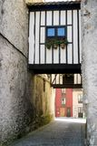 Old street. An old street of Llanes, a small village in the Spanish north coast stock photos