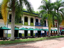 An old street. Restaurants at Parque Del Cafe, Colombia Royalty Free Stock Image