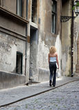 Old street. And young girl in Zagreb, Croatia Stock Image