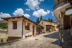 Old street of Bar touristic town center. Old pavement street and buildings of Bar touristic town center, Montenegro royalty free stock photos