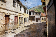 Old street of Bar town in Montenegro Stock Photos