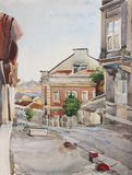 Old street in Beyoglu district near Galata tower, Istanbul. Turkey , original watercolor painting Stock Photo