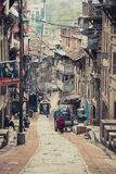 Old street of Bhaktapur in Nepal Stock Photos