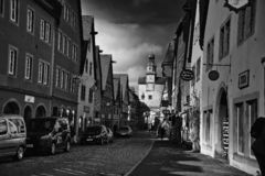 Old street in black and white of rothenburg ob der tauber stock photography