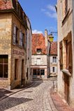 Old street with boulangerie, Burgundy, France Stock Images