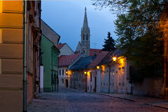 Old street in Bratislava, Slovakia Royalty Free Stock Images