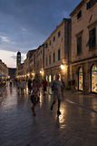 Old street and cafes at night in Dubrovnik Royalty Free Stock Photos