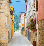 Old street in catalan town. Besalu Stock Photo