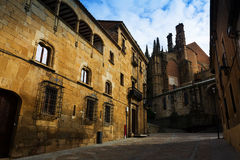 Old street and Cathedral of Plasencia Stock Image