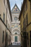 Old street in the center of Orvieto, Orvieto Cathedral, Italy royalty free stock photography