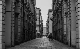 Old street in Central Torino (Turin), Italy Stock Photos