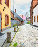Old street in Cesis city, Latvia Stock Photography