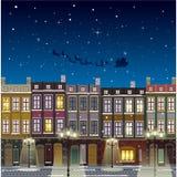 Old street Christmas background at night. Santa flying royalty free illustration