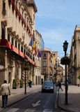 Old street with city hall in spanish city. Alicante Royalty Free Stock Photography