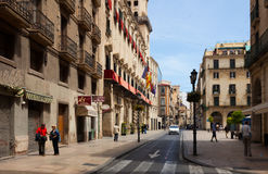 Old street with city hall in spanish city Royalty Free Stock Images