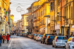 Old street with colorful buildings in Reggio Emilia Royalty Free Stock Photos