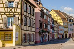 Old street with colorful houses in Colmar Royalty Free Stock Image