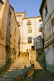 Old street in Cuenca at sunset Stock Photography