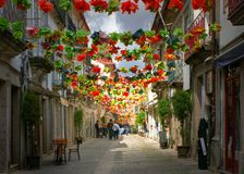 Old street decorated with flowers Royalty Free Stock Photo
