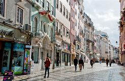 Old street in the downtown of Coimbra, Portugal Stock Photography